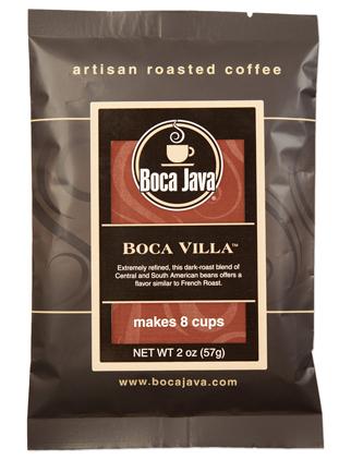 Boca Java Baby Boca, Boca Villa 2oz trial size sample 2oz pack of dark roast arabica coffee with european style roast
