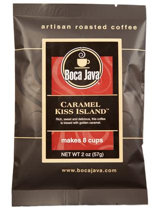 Caramel Kiss Island is a Caramel Flavored Coffee in a 2oz sample size medium roast direct trade nicaraguan coffee