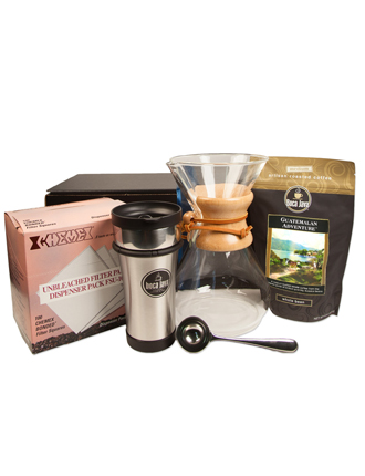 Boca Java Chemex Starter Gift Pack Featuring a Chemex Coffee Brewer, Coffee Filters, a Stainless Steel Coffee Tumbler, a Coffee Scoop and an 8oz bag of our Guatemalan Adventure Single Origin Coffee