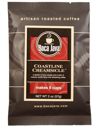 Coastline Creamsicle Coffee is a creamsicle orange and vanilla coffee in a 2oz sample size medium roast direct trade nicaraguan coffee