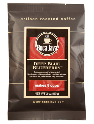 Deep Blue Blueberry coffee is a rich blue blueberry coffee in a 2oz sample size medium roast direct trade nicaraguan coffee