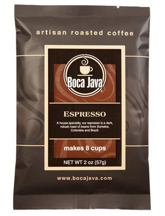 Dark roast espresso in a trial size package