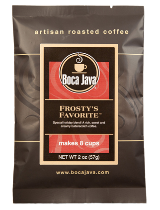 Butterscotch flavored coffee in a 2oz sample size medium roast direct trade nicaraguan coffee