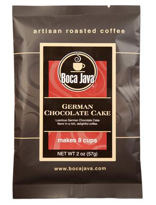 German Chocolate Cake flavored coffee in a 2oz sample size medium roast direct trade nicaraguan coffee