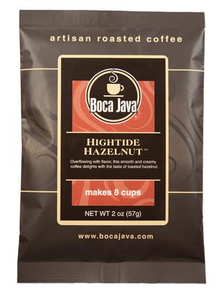 Hazelnut flavored coffee in a 2oz sample size medium roast direct trade nicaraguan coffee