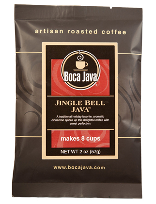 Jingle Bell Java is a Cinnamon flavored coffee in a 2oz sample size medium roast direct trade nicaraguan coffee