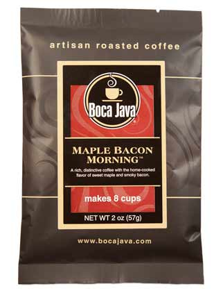 maple bacon coffee is flavored coffee with the rich flavors of maple and bacon a medium roast coffee packaged in a small 2oz trial sized bag of medium roast nicaraguan direct trade coffee