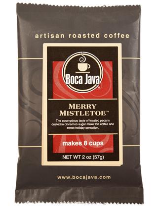 boca java medium roast holiday flavored coffee merry misteltoe cinnamon and roasted pecan made with arabica beans