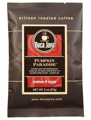 pumpkin paradise sample trial size 2oz bag of medium roast pumpkin flavored direct trade nicaraguan ground coffee