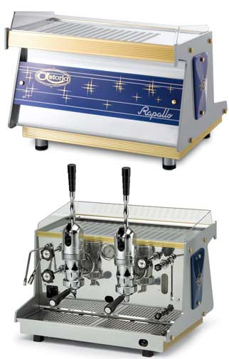 Astoria Espresso machine for professional use, cafes, Rapallo AL 2 is a two group professional espresso machine operated with levers