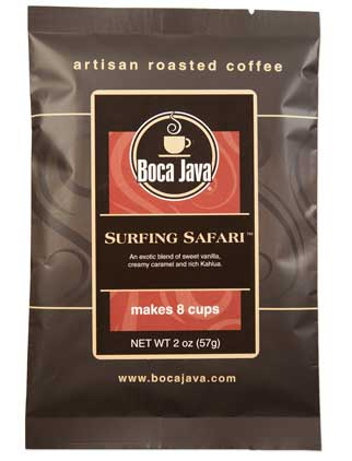 surfing safari is a medium roast preground 2oz bag of coffee made with arabica beans from our direct trade farm in nicaragua with delicious flavoring of vanilla caramel and kahlua
