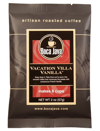 rich vanilla flavored coffee preground from nicaragua in a small sample size 2oz bag made with arabica coffee beans from a direct trade farm and flavored with rich vanillas