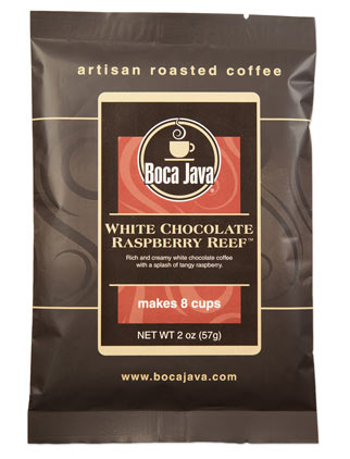White Chocolate Raspberry Reef combines the taste of fresh raspberry coffee with white chocolates in this trial size coffee 2oz bag of medium roast nicaraguan flavored coffee