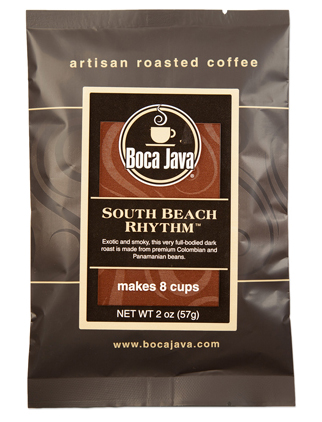 a 2oz trial size bag of dark roast arabica beans from south and central america preground
