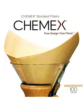 Chemex Bonded Filters Pre-Folded Squares - Natural - 100 Count - FSU-100