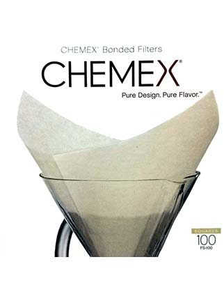 Chemex Bonded Filters Pre-Folded Squares - White - 100 Count - FC-100