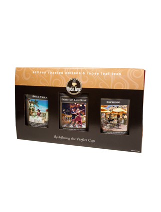 Boca Java Dark Roast Trio Gift Set Featuring Boca Villa, Espresso and Light Up Las Olas, Three 8oz Bags